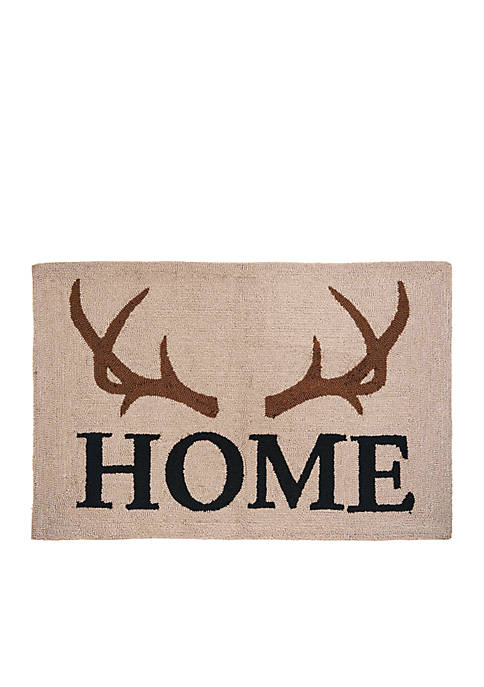 C&F Antler Lodge Home Hooked Rug