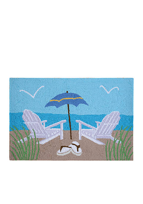 C&F Beach Chairs Hooked Rug