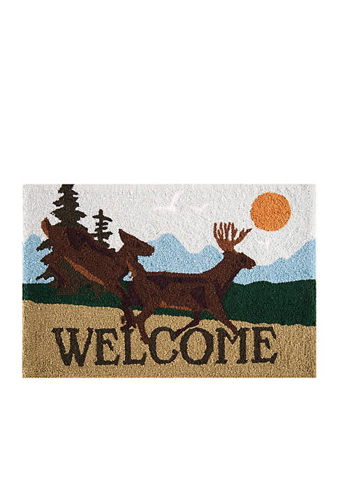 Welcome Deer Parfait Hooked Rug