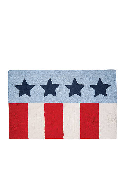 Stars and Stripes Hooked Rug