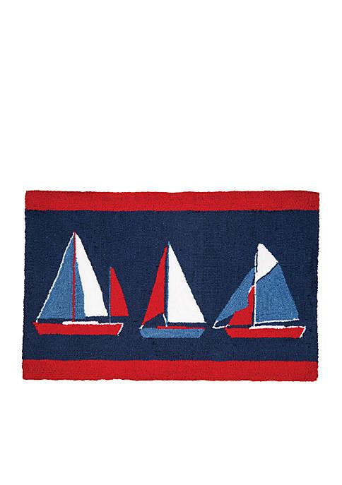 Sail Boats Hooked Rug