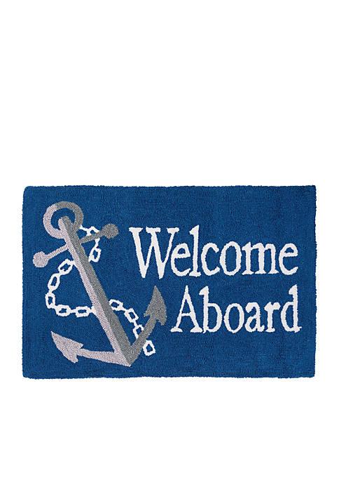 Welcome Aboard Hooked Rug