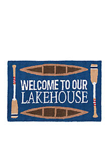 Welcome To Our Lakehouse Hooked Rug