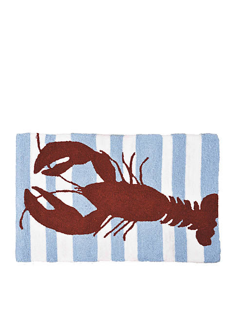 Striped Lobster Hooked Rug