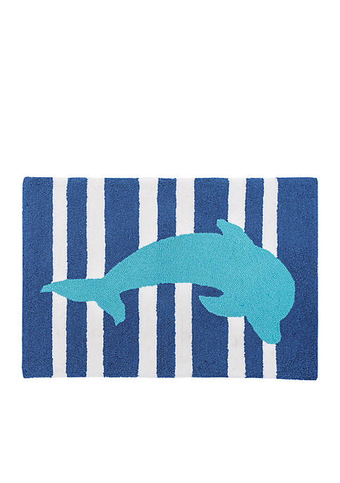 C&F Striped Dolphin Hooked Rug