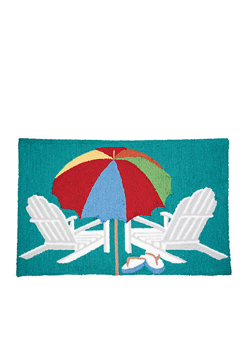 C&F Beach Umbrella Hooked Rug