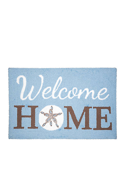 Welcome Home Sand Dollar Hooked Rug