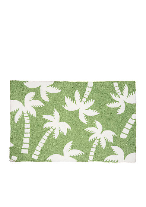 C&F Beachy Palm Tree Hooked Rug