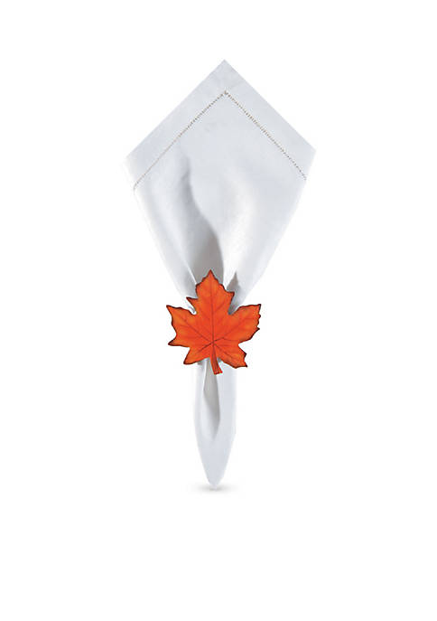 C&F Pearlized Maple Leaf Napkin Ring Set Of