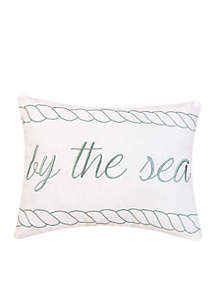 By the Sea Embroidered Decorative Pillow