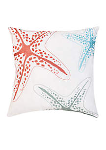 Starfish Festival Embroidered Decorative Pillow
