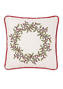 Winter Trellis Embroidered Throw Pillow