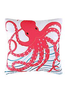 Pink Octopus Throw Pillow