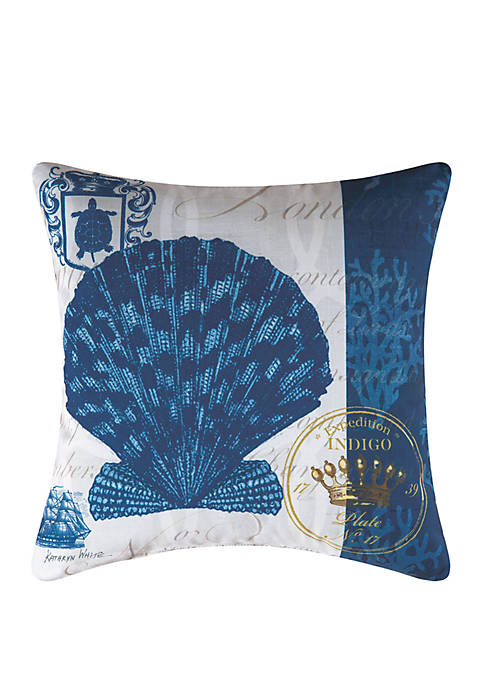 C&F Indigo Shell Indoor/Outdoor Pillow