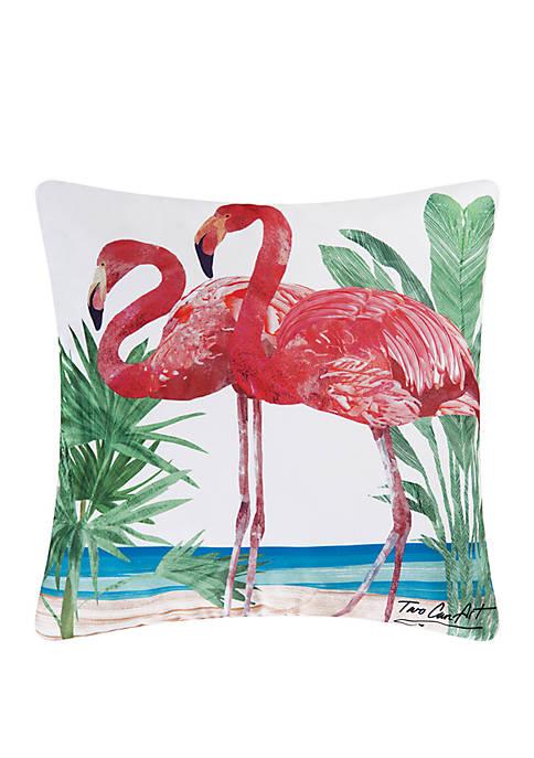 C&F Flamingos Indoor/Outdoor Pillow