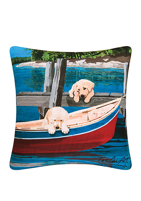 Puppies & Canoe Indoor/Outdoor Pillow