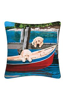 Puppies & Canoe Indoor/Outdoor Pillow