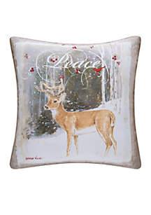 Peace Deer Throw Pillow