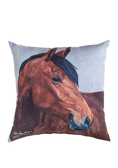 C&F Bay Horse Indoor/Outdoor Pillow
