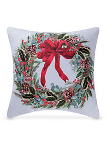 C&F Holly Berry Wreath Pillow