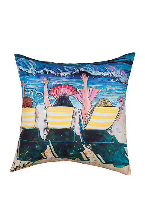 C&F Mermaid Beach Party Indoor/Outdoor Pillow