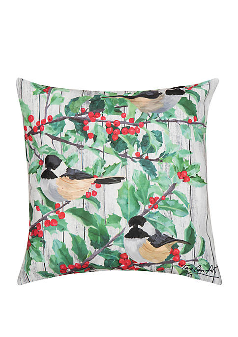 Holly & Bird Indoor/Outdoor Pillow