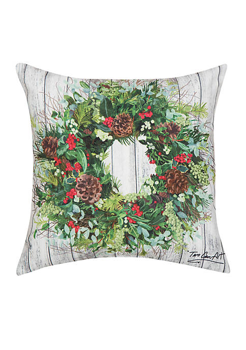 C&F Christmas Wreath Throw Pillow