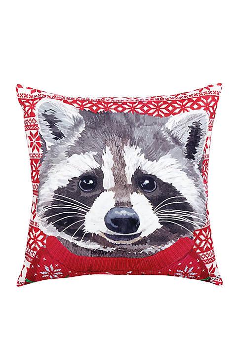 C&F Ugly Sweater Raccoon Indoor/Outdoor Pillow