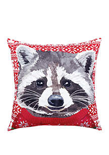 Ugly Sweater Raccoon Indoor/Outdoor Pillow