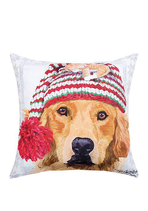 Winter Hat Golden Indoor/Outdoor Pillow