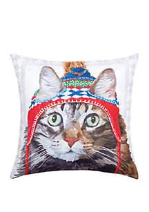 Winter Hat Cat Indoor/Outdoor Pillow