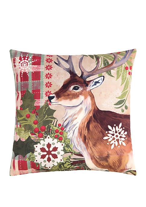 C&F Winter Reindeer Pillow