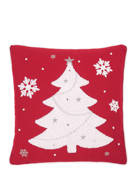 Red and White Tree Pillow