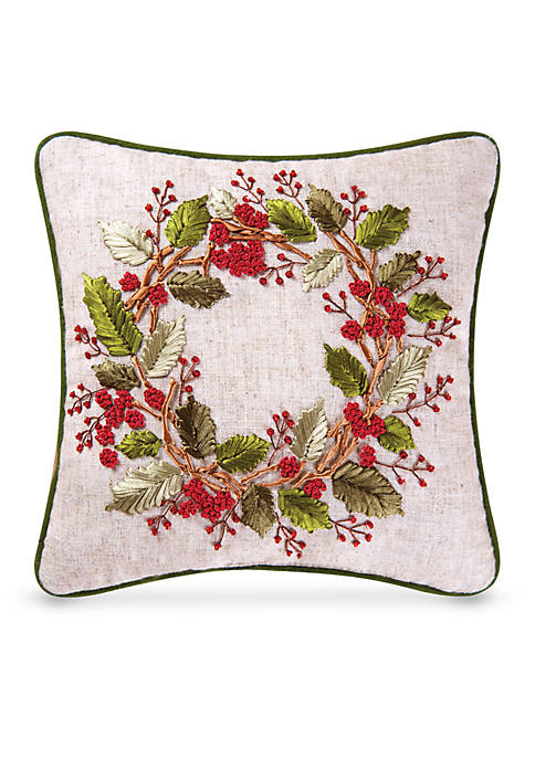 C&F Berry Wreath Ribbon Art Pillow