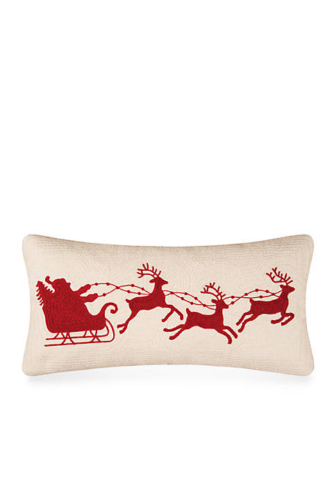 Santa Sleigh on Cream Pillow