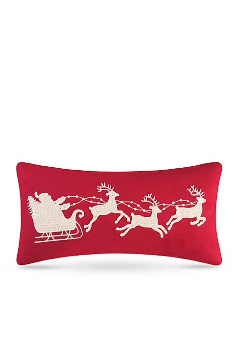 C&F Santa Sleigh on Red Pillow