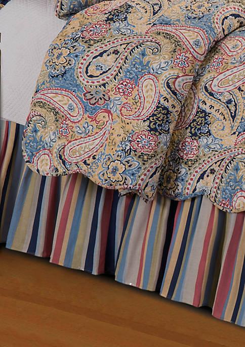 Bright Blue Paisley Queen Bedskirt