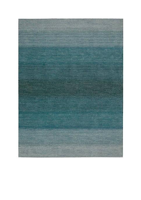 "Nourison Linear Glow Aqua Area Rug 1010"" x"