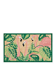 Flamingo with Palms Welcome Mat