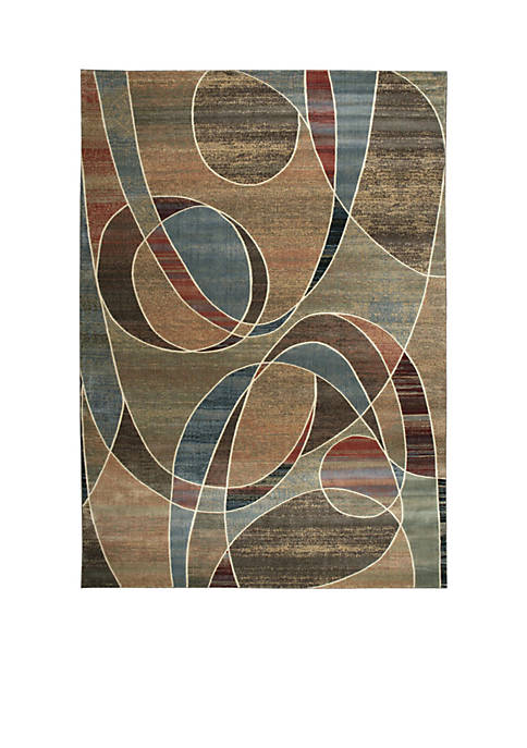 "Expressions Circles Multicolor Area Rug 59"" x 2"