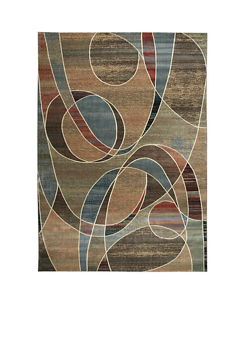 "Expressions Circles Multicolor Area Rug 75"" x 53"""