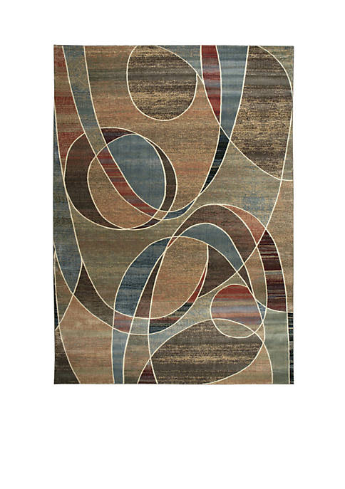 "Expressions Circles Multicolor Area Rug 1010"" x 79"""