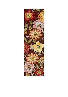 """Fantasy Chocolate Elegant Bouquet Area Rug 76"""" x 23"""""""