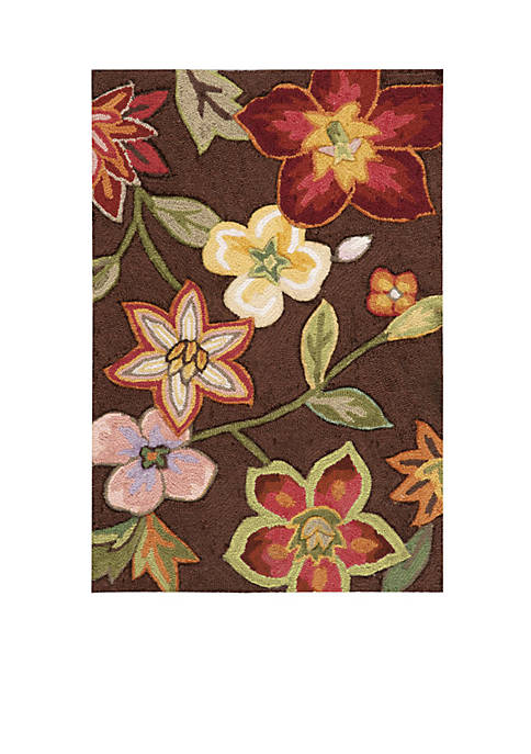 "Fantasy Chocolate Elegant Bouquet Area Rug 56"" x"
