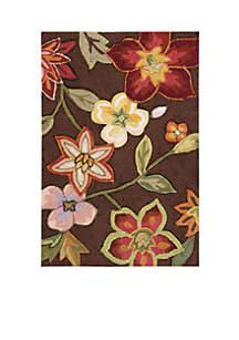 Fantasy Chocolate Elegant Bouquet Area Rug 10'6