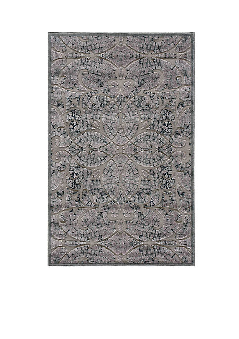 Graphic Illusions Scrolling Vines Grey Area Rug