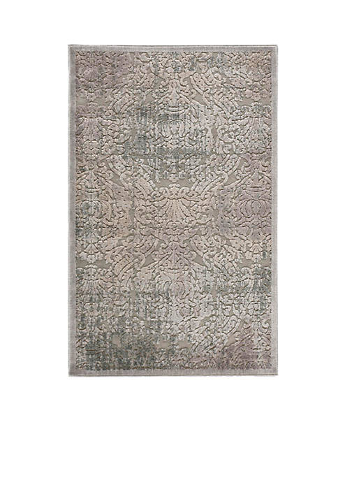 Graphic Illusions Damask Grey Area Rug