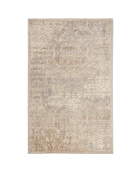 Graphic Illusions Damask Ivory Area Rug