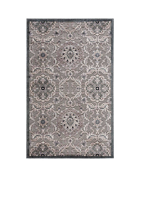 Nourison Graphic Illusions Floral Grey Area Rug 39""