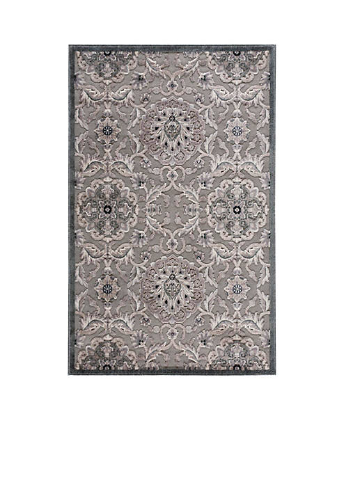 Graphic Illusions Floral Grey Area Rug 8 x